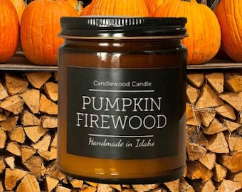 PUMPKIN FIREWOOD - New - Crackling Wood Fire Natural Soy Wax Candle