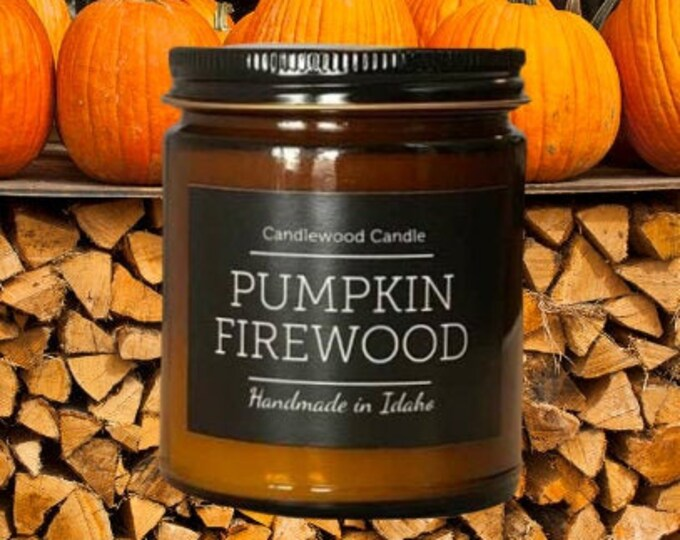 Featured listing image: PUMPKIN FIREWOOD - New - Crackling Wood Fire Natural Soy Wax Candle