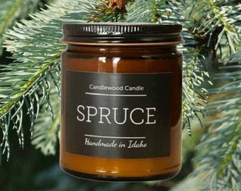 SPRUCE - Crackling Wood Fire Natural Soy Wax Candle in Amber Jar with Black Lid