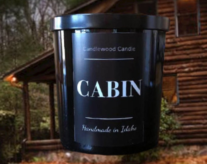 Featured listing image: CABIN - Crackling Wood Fire Natural Soy Wax Candle in Black Jar with  Lid 12 oz