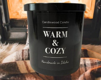 WARM & COZY - Crackling Wood Fire Soy Wax Candle in Black Tumbler with Lid - 12 oz.