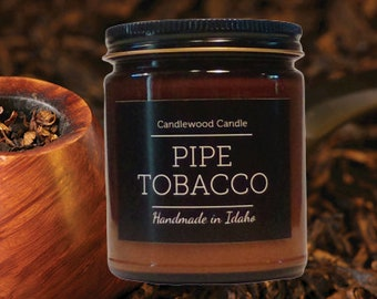 PIPE TOBACCO -  Crackling Wood Fire Natural Soy Wax Candle in Amber Jar with Black Lid