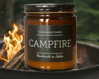 CAMPFIRE - Crackling Outdoor Fire Pit Natural Soy Wax Candle with Black Lid