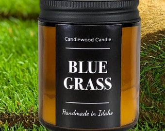 BLUE GRASS - Crackling Wood Fire Soy Wax Candle in Amber Jar with Black Lid