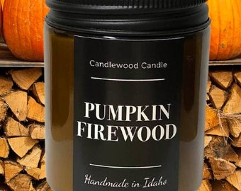 PUMPKIN FIREWOOD - Crackling Wood Fire Natural Soy Wax Candle in Amber Jar with Black Lid