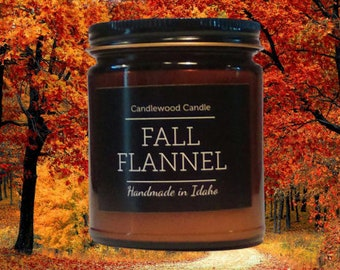 FALL FLANNEL - Crackling Wood Fire Natural Soy Wax Candle in Amber Jar with Black Lid