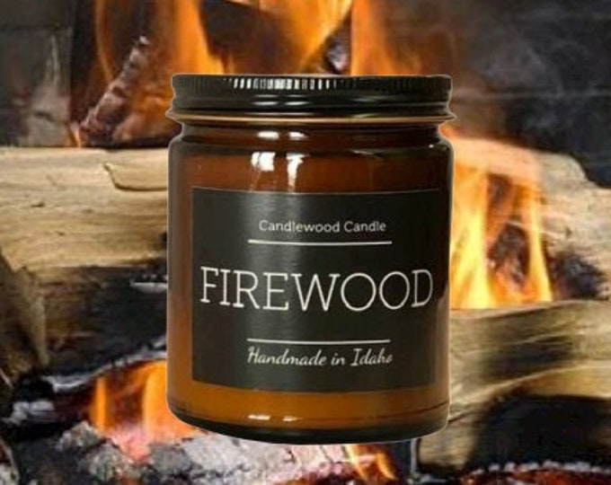 Featured listing image: FIREWOOD - Crackling Wood Burning Fireplace Soy Wax Candle  - Best Seller Since 2012 - Simply like no others..