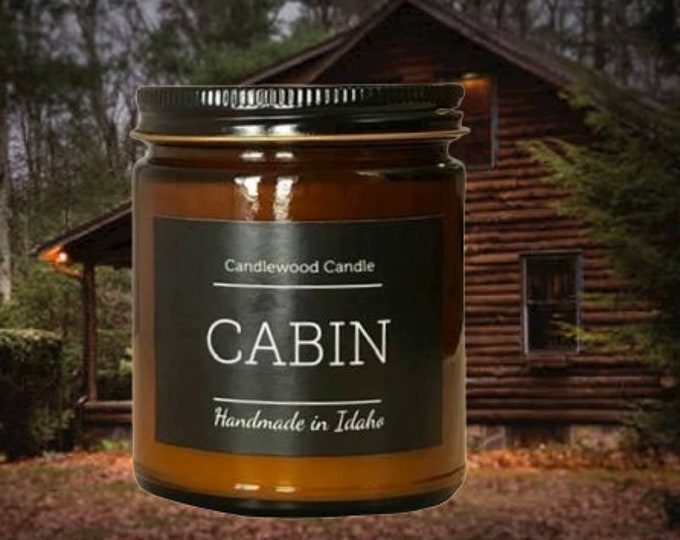 Featured listing image: CABIN - Crackling Wood Fire Natural Soy Wax Candle in Amber Jar with Black Lid