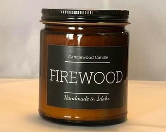 FIREWOOD - Authentic Wood Fireplace Soy Wax Candle  9 oz - Best Seller Since 2012 - Simply like no others..