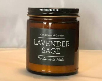 LAVENDER SAGE -  Natural Soy Wax Candle in Amber Jar with Black Lid 9 oz