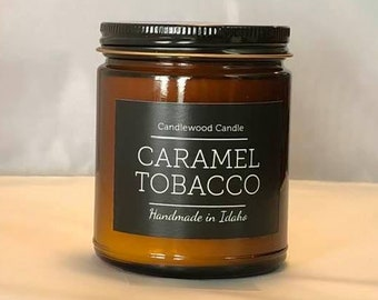 CARAMEL TOBACCO -  Natural Soy Wax Candle in Amber Jar with Black Lid 9 oz