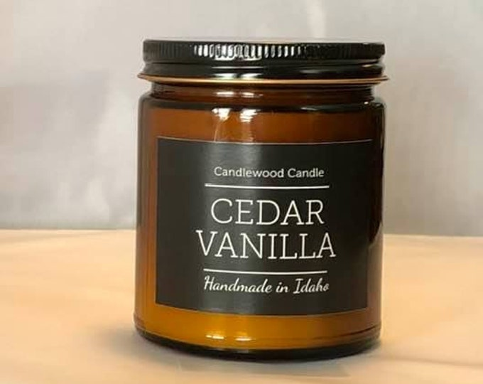 Featured listing image: CEDAR VANILLA -  Natural Soy Wax Candle in Amber Jar with Black Lid 9 oz