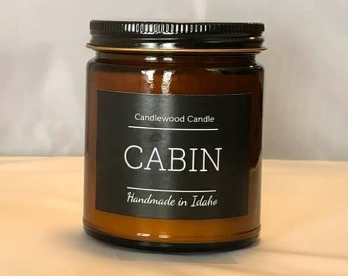 Featured listing image: CABIN - Natural Soy Wax Candle in Amber Jar with Black Lid 9 oz