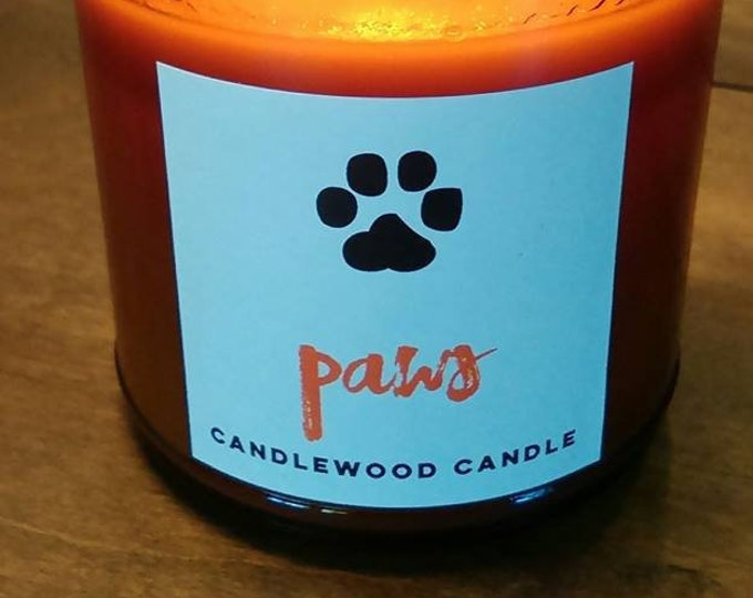 Featured listing image: PAWS Candles Donate to ASPCA -  Natural Soy Wax Candles in Amber Jar 9 oz - New Cotton Wicks!