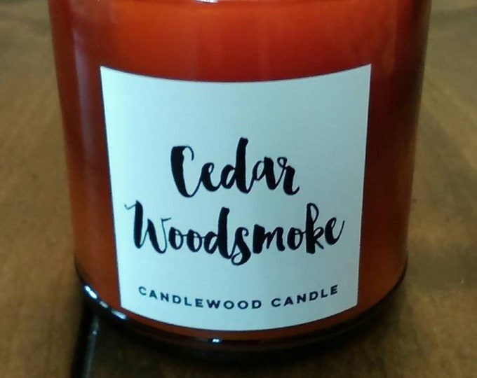 Featured listing image: CEDAR WOODSMOKE -  Natural Soy Wax Candle in Amber Jar with Black Lid 9 oz
