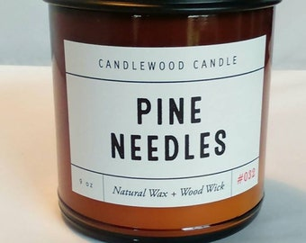 PINE NEEDLES - Crackling Wood Fire - Natural Soy Wax Candle in Amber Jar with Black Lid 9 oz