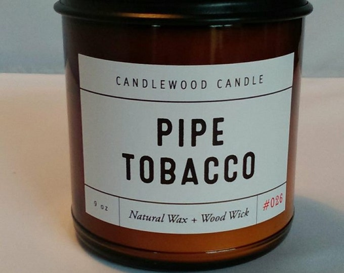 Featured listing image: PIPE TOBACCO - Crackling Wood Fire -  Natural Soy Wax Candle in Amber Jar with Black Lid 9 oz