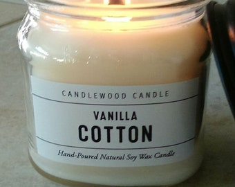 Vanilla Cotton -  Natural Soy Wax Cotton or Wood Wick Candle with Black Lid 9 oz