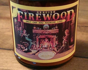 FIREWOOD - Holiday Edition - Fireplace Candle - Genuine Wood Burning Natural Soy Wax Candle  9 oz - Simply like no others!