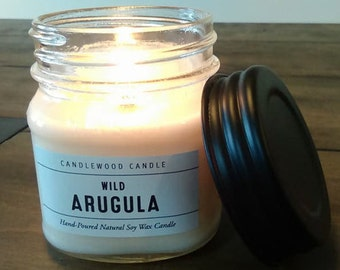 Wild Arugula -  Natural Soy Wax Cotton or Wood Wick Candle 9 oz with Black Lid
