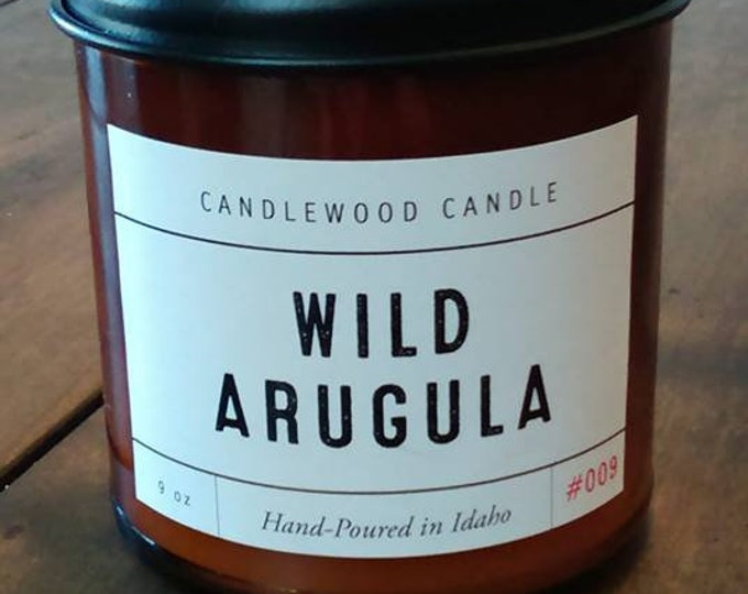 Featured listing image: Wild Arugula - Crackling Wood Fire Natural Soy Wax Candle 9 oz with Black Lid