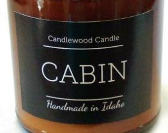 CABIN - Crackling Wood Fire Natural Soy Wax Candle in Amber Jar with Black Lid