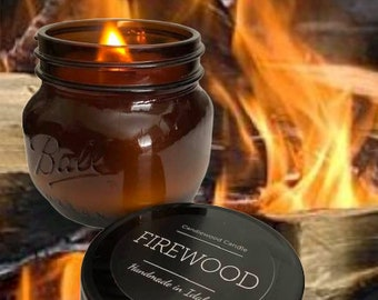 FIREWOOD - LIMITED EDITION - Crackling Wood Burning Wood Fireplace in a Jar Candle  16 oz
