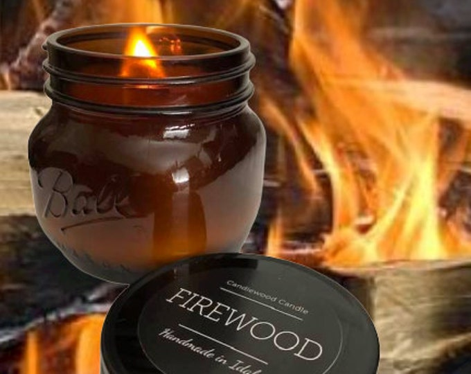 Featured listing image: FIREWOOD - LIMITED EDITION - Crackling Wood Burning Wood Fireplace in a Jar Candle  16 oz