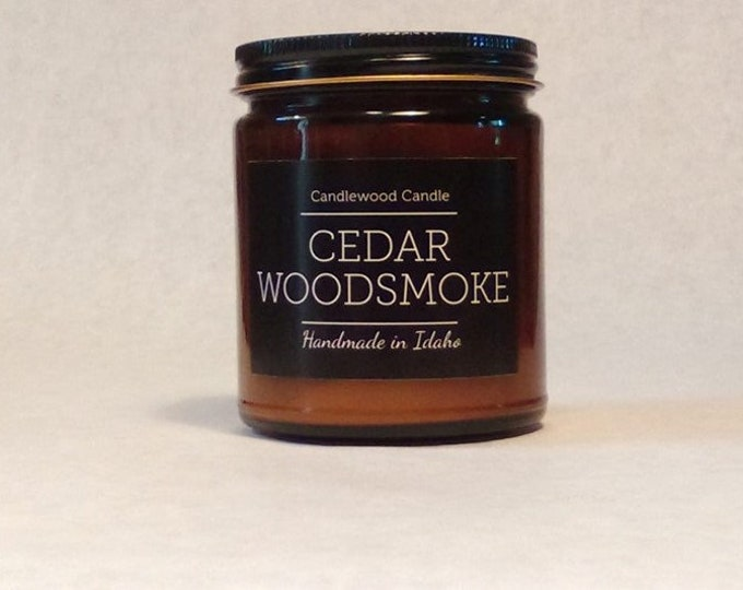 Featured listing image: CEDAR WOODSMOKE -  Wood Fire - Natural Soy Wax Wood Wick Candle in Amber Jar with Black Lid 9 oz