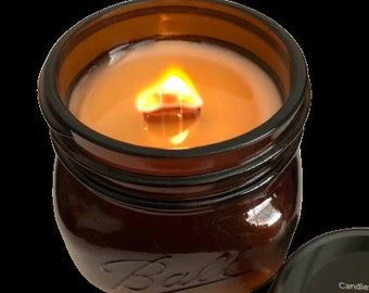 FIREWOOD - LIMITED EDITION - Crackling Wood Fireplace in a Jar Candle  16 oz - Wood Wicks