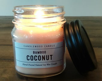 Coconut Bamboo-  Natural Soy Wax Cotton or Wood Wick Candle 9 oz with Black Lid