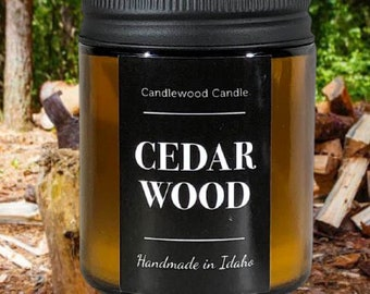 CEDAR WOOD - Crackling Wood Fire Natural Soy Wax Candle in Amber Jar with Lid