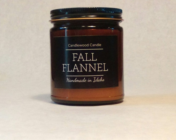 Featured listing image: FALL FLANNEL - Wood Fire - Natural Soy Wax Candle in Amber Jar with Black Lid 9 oz