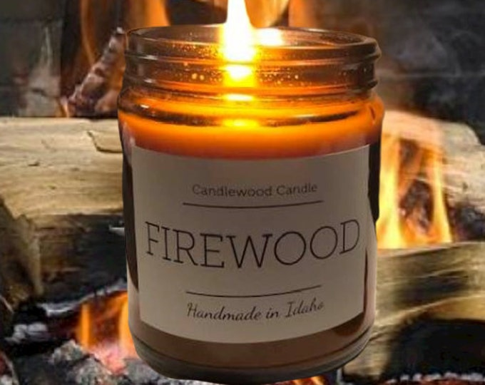 Featured listing image: FIREWOOD - Authentic Wood Fireplace Scent Candle  Cotton Wick - Black Lid