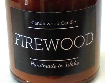 FIREWOOD - Crackling Wood Fireplace Soy Wax Candle in Amber Jar with Black Lid