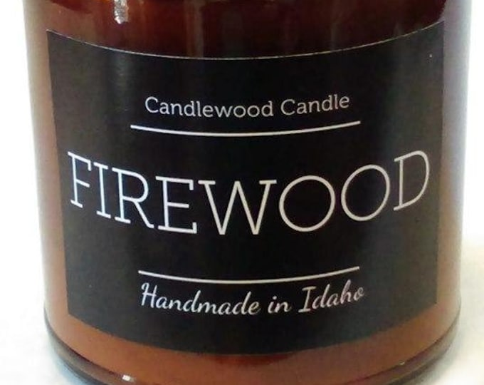 Featured listing image: FIREWOOD - Crackling Wood Fireplace Soy Wax Candle in Amber Jar with Black Lid