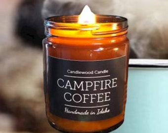 CAMPFIRE COFFEE - New - Crackling Wood Fire - Natural Soy Wax Candle in Amber Jar with Black Lid