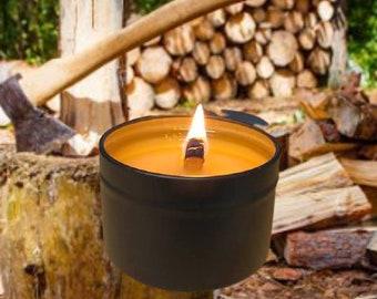 CEDAR WOOD - Crackling Wood Fire Natural Soy Wax Black Travel Tin with Black Lid 5 oz