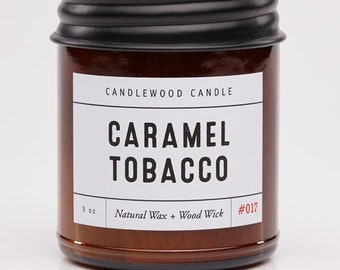 CARAMEL TOBACCO - Crackling Wood Fire - Pure Soy Wax Candle in Amber Jar with Black Lid 9 oz