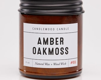AMBER + OAKMOSS -  Pure Soy Wax Candle in Amber Jar with Black Lid 9 oz