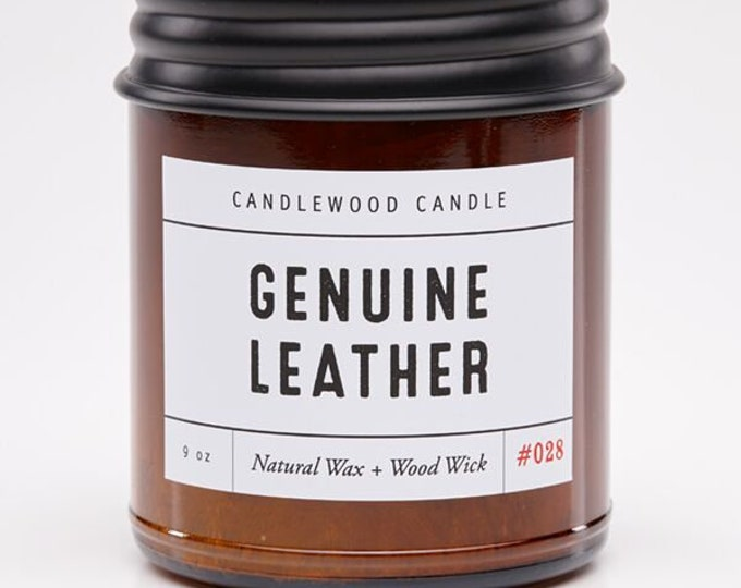 Featured listing image: GENUINE LEATHER - Crackling Wood Fire Natural Soy Wax Candle in Amber Jar with Black Lid 9 oz