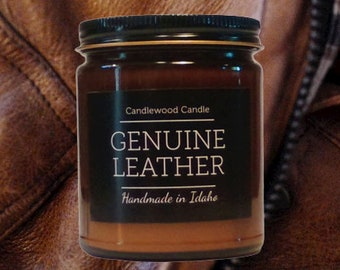 GENUINE LEATHER - Crackling Wood Fire Natural Soy Wax Candle in Amber Jar with Black Lid