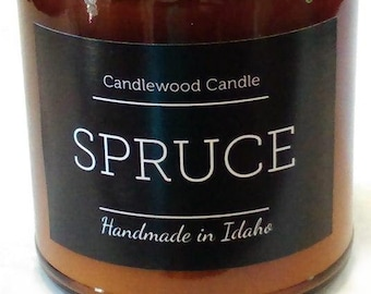 SPRUCE - Wood Fire - Natural Soy Wax Wood Wick Candle in Amber Jar with Black Lid 9 oz.