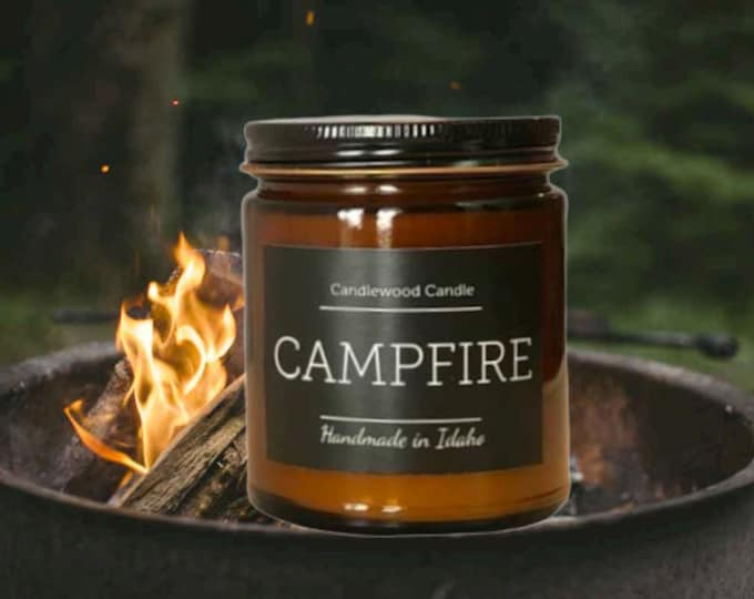 Featured listing image: CAMPFIRE - Crackling Outdoor Fire Pit Natural Soy Wax Candle with Black Lid