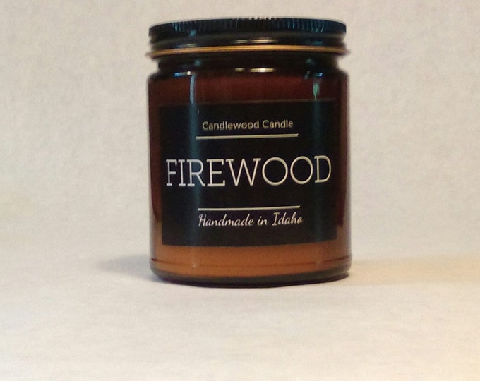 Featured listing image: FIREWOOD -  Crackling Wood Fire - Wood Burning Soy Wax Fireplace Candle  9 oz - Best Seller Since 2012 - Simply like no others..