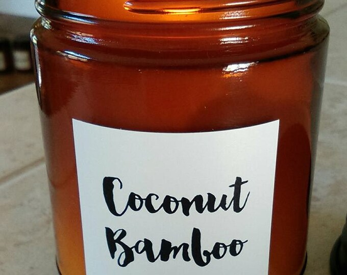 Bamboo Coconut - Limited Edition - Amber Jar Candle - Natural Soy Wax + Cotton Wick 9 oz with Black Lid