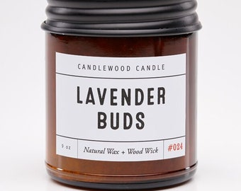LAVENDER BUDS - Crackling Wood Fire - Pure Soy Wax  Candle in Amber  Jar with Black Lid 9 oz