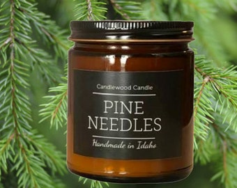PINE NEEDLES - Wood Fire Natural Soy Wax Candle in Amber Jar with Black Lid