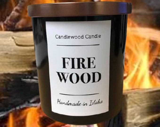 Featured listing image: FIREWOOD - Authentic Wood Fireplace Soy Wax Candle  - COTTON WICK -  Best Seller Since 2012 - Simply like no others..12 oz