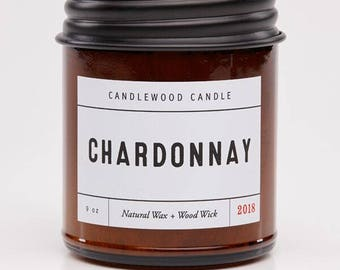 CHARDONNAY - Natural Soy Wax Wine Candle with Black Lid 9 oz
